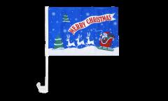 Bandiera per auto Merry Christmas Babbo Natale blu - 30 x 40 cm
