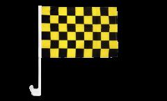 Bandiera per auto a quadri neri-gialli - 30 x 40 cm