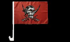 Bandiera per auto Pirata su un panno rosso - 30 x 40 cm