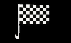 Bandiera per auto Arrivo nera-bianca - 30 x 40 cm