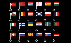 Set di Bandiere da tavolo Calcio 2021 - 10 x 15 cm