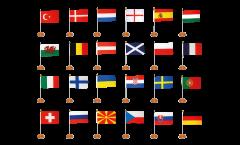 Set di Bandiere da tavolo Calcio 2021 - 15 x 22 cm