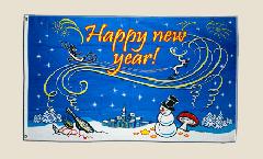 Bandiera Happy New Year pupazzo di neve