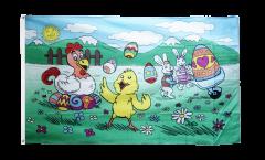 Bandiera Buona Pasqua Coniglietti e gallina