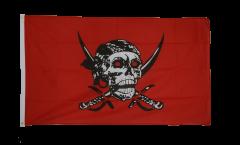 Bandiera Pirata su un panno rosso