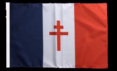Bandiera Francia con la croce di Lorena con orlo