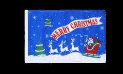 Bandiera Merry Christmas Babbo Natale blu con orlo
