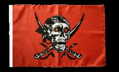 Bandiera Pirata su un panno rosso con orlo