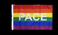 Bandiera Arcobaleno con PACE con orlo