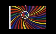 Bandiera Arcobaleno Peace Swirl con orlo