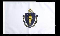 Bandiera USA Massachusetts con orlo