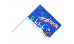 Bandiera da asta Merry Christmas Babbo Natale blu