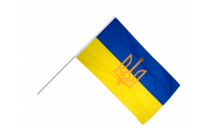 Bandiera da asta Ucraina con stemmi