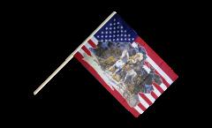 Bandiera da asta USA con capo indiani